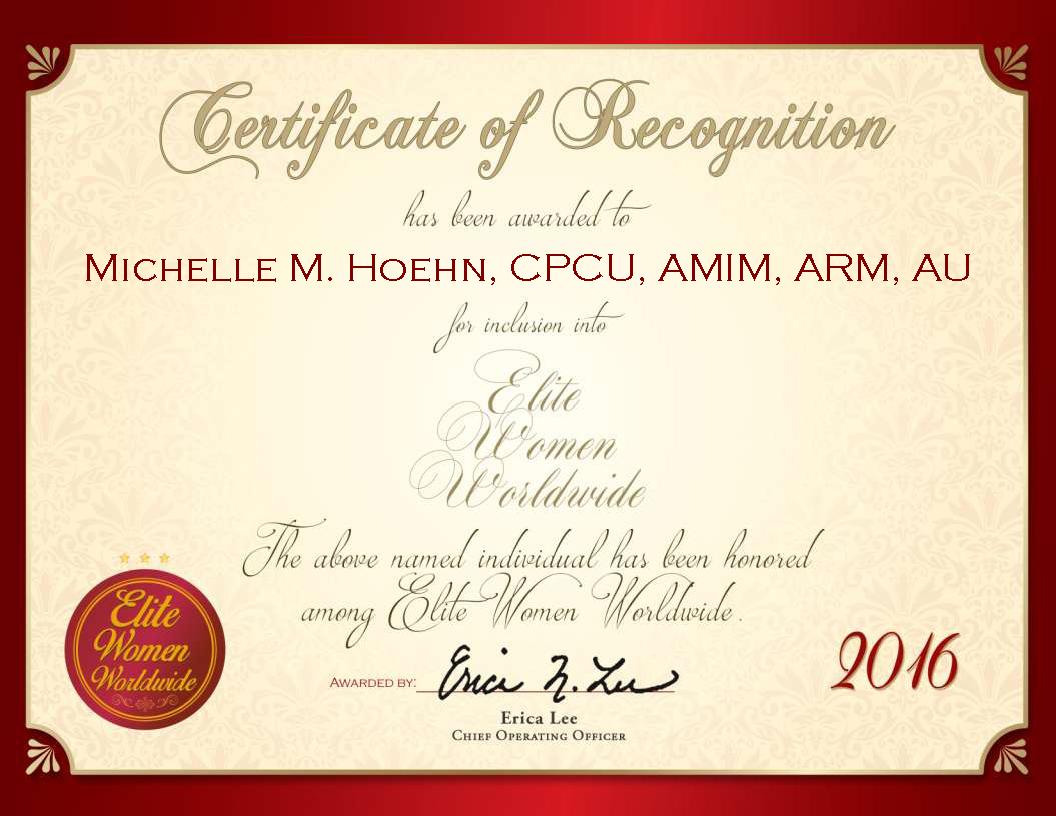 Michelle M Hoehn Cpcu Amim Arm Au Elite Women Worldwide